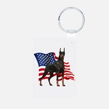 American Flag Doberman Keychains