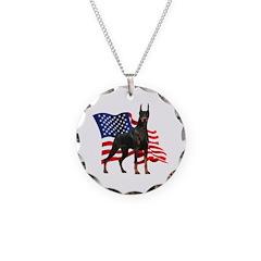 American Flag Doberman Necklace