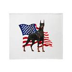 American Flag Doberman Throw Blanket