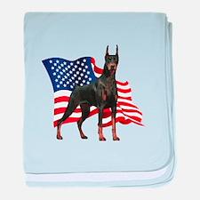 American Flag Doberman baby blanket
