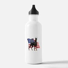 American Flag Doberman Water Bottle