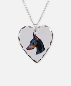 Doberman Necklace Heart Charm