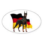 German Flag Doberman Sticker (Oval 10 pk)