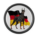 German Flag Doberman Large Wall Clock