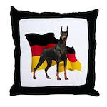 German Flag Doberman Throw Pillow