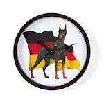 German Flag Doberman Wall Clock