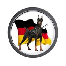 German Flag Doberman Wall Clock