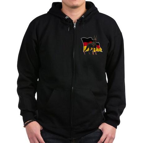 German Flag Doberman Zip Hoodie (dark)