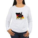 German Flag Doberman Women's Long Sleeve T-Shirt