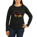 German Flag Doberman Women's Long Sleeve Dark T-Sh