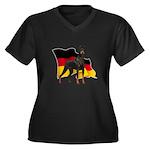 German Flag Doberman Women's Plus Size V-Neck Dark