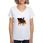 German Flag Doberman Women's V-Neck T-Shirt