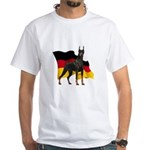 German Flag Doberman White T-Shirt