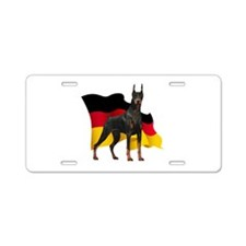 German Flag Doberman Aluminum License Plate