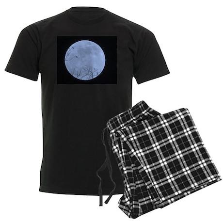 Blue Moon with Branches Men's Dark Pajamas