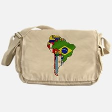 South America Flag Map Messenger Bag