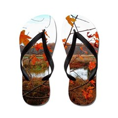 Falling Leaves Trailer Park Flip Flops