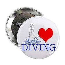 """Love (heart) Diving 2.25"""" Button"""