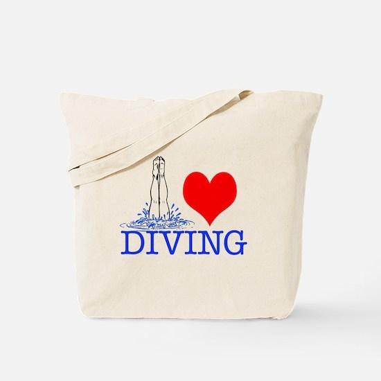 Love (heart) Diving Tote Bag