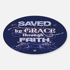 Saved by Grace Sticker (Oval)