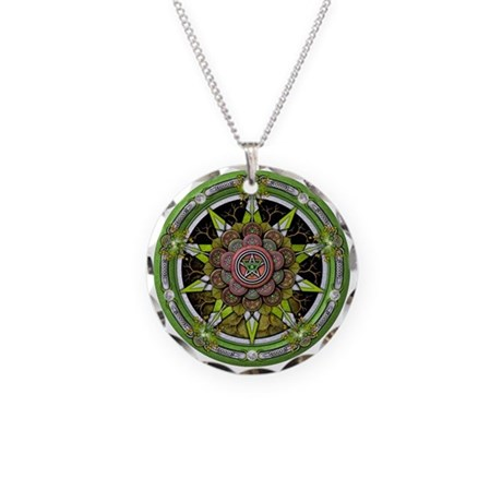 Earth Elemental Pentacle Necklace Circle Charm
