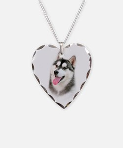 Siberian Husky Necklace Heart Charm