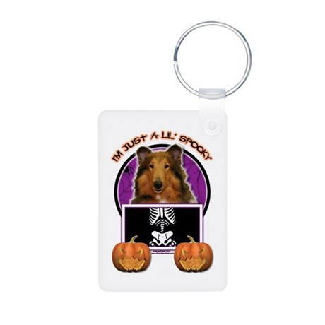 Just a Lil Spooky Collie Aluminum Photo Keychain