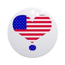 U.S.A. HEART FLAG Ornament (Round)