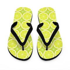 Lemon-Lime [pattern] Flip Flops