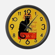 Chat Noir Black Cat Large Wall Clock