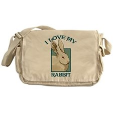 I Love my Rabbit - White Messenger Bag