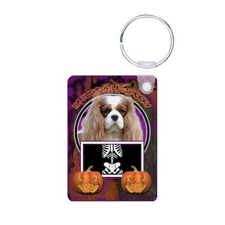 Just a Lil Spooky Cavalier Aluminum Photo Keychain