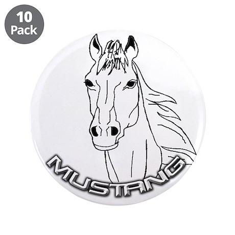 "Mustang Plain Horse 3.5"" Button (10 pack)"
