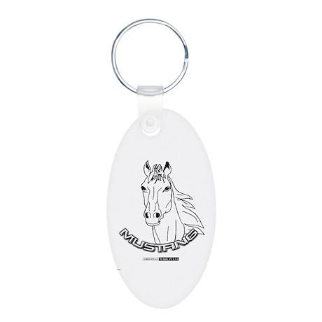 Mustang Plain Horse Aluminum Oval Keychain