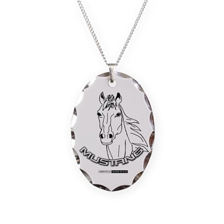 Mustang Plain Horse Necklace Oval Charm