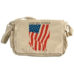 American Flag Long May it Wav Messenger Bag