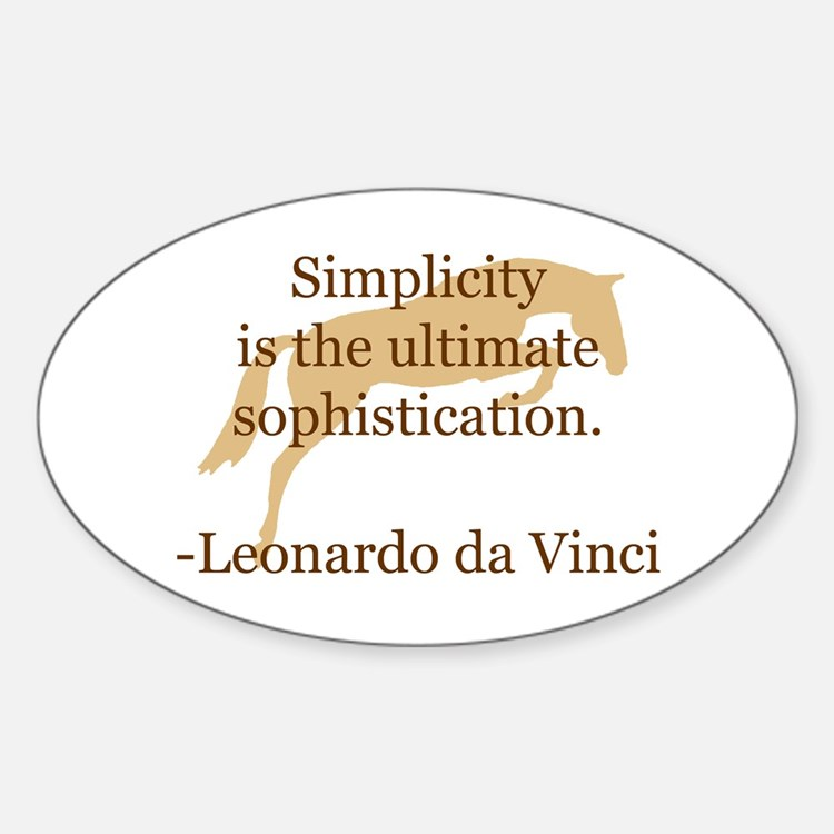 simplicity quote w/ jumper horse Oval Decal