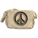 Silver Peace Sign Messenger Bag