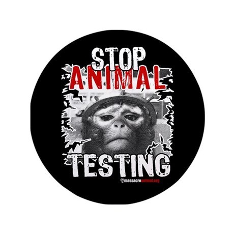 """STOP ANIMAL TESTING - 3.5"""" Button (100 pack)"""