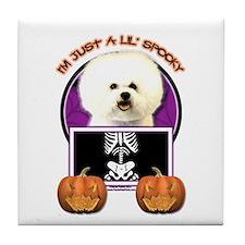 Just a Lil Spooky Bichon Tile Coaster