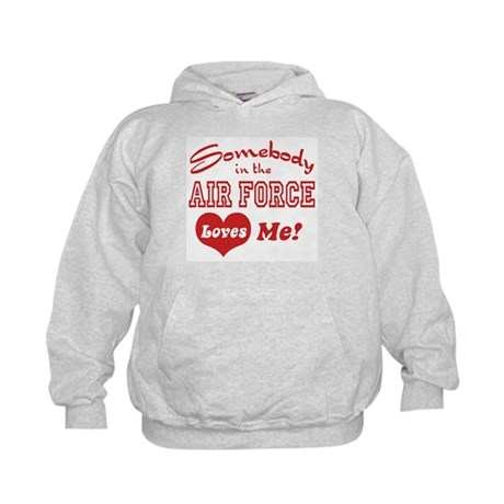 Somebody in the Air Force Loves Me Kids Hoodie