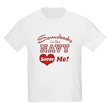 Somebody in the Navy Loves Me Kids T-Shirt