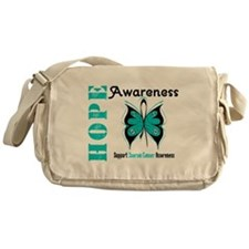 Ovarian Cancer Butterfly Messenger Bag