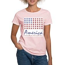 American flag Women's Pink T-Shirt