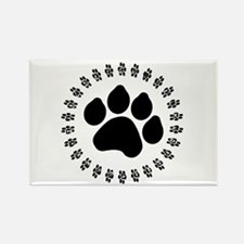 Black Paw Print Rectangle Magnet (10 pack)