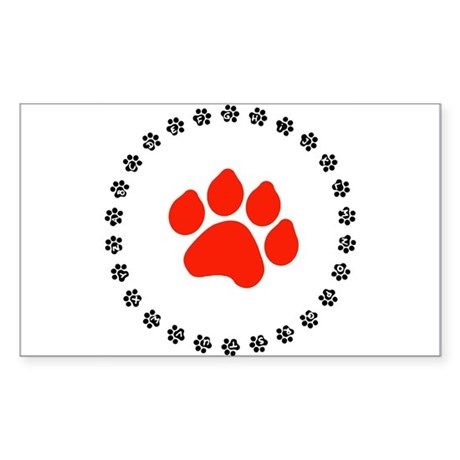 Red Paw Print Sticker (Rectangle)