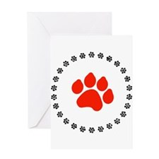 Red Paw Print Greeting Card