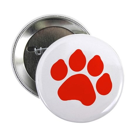 """Red Paw Print 2.25"""" Button (10 pack)"""