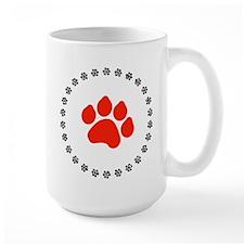 Red Paw Print Mug