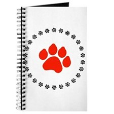 Red Paw Print Journal